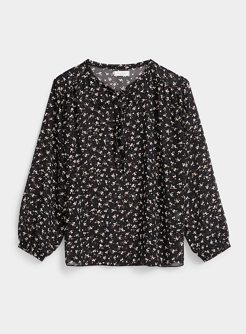 Twik Patterned Black Mini white flower blouse for women