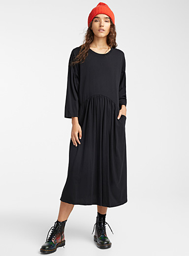 Wendy Trendy Black Relaxed loose maxi dress for women