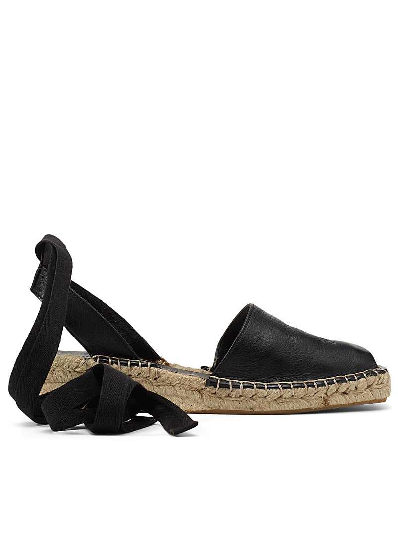 Simons Black Leather open platform espadrille for women