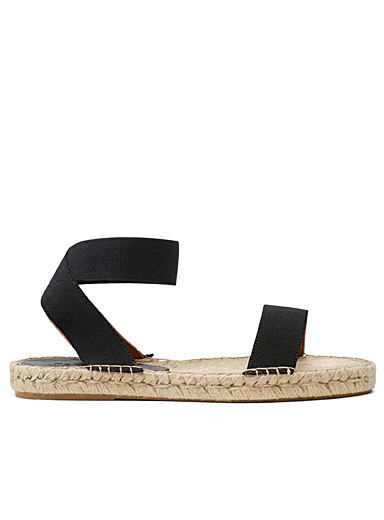 Simons Black Raffia strap sandals for women