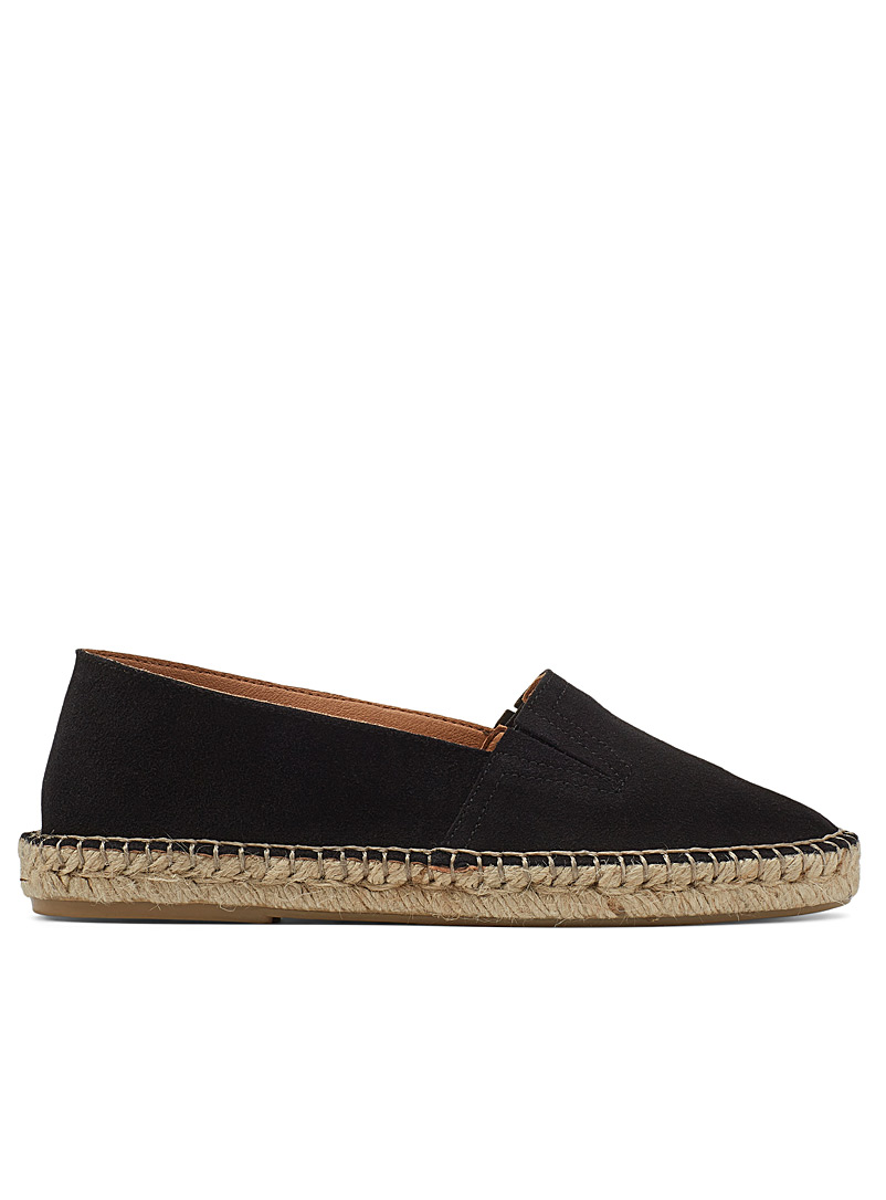 Simons Black Suede slip-on espadrille for women