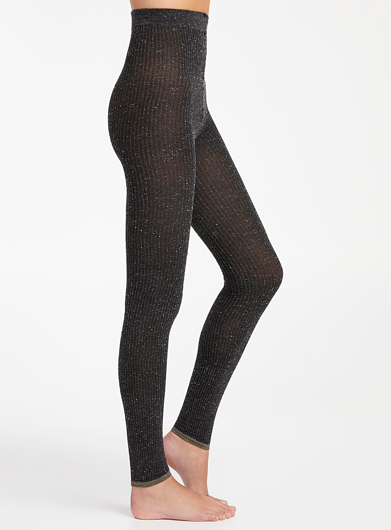 Lemon Grey Confetti ribbed legging for women
