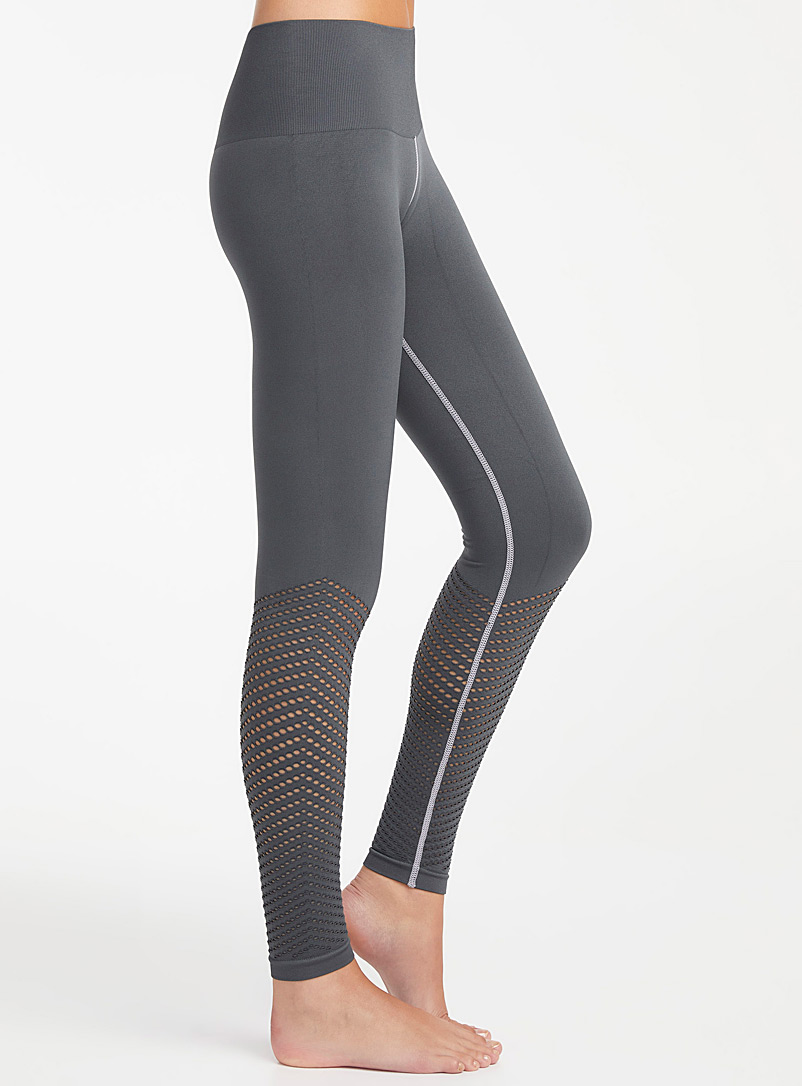 Lemon Grey Perforated wave legging for women