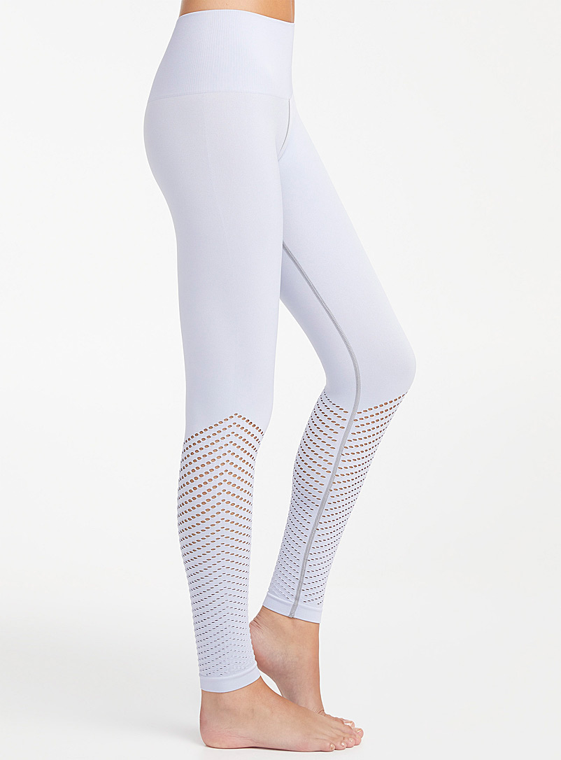 Lemon Baby Blue Perforated wave legging for women