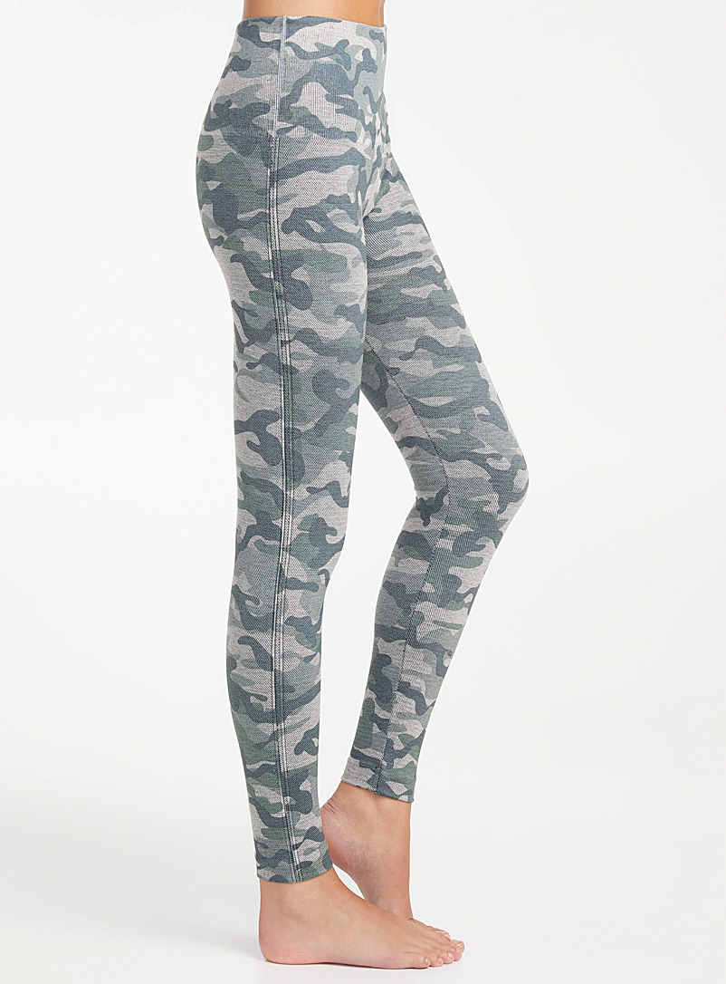 Lemon Patterned Grey Camo twill legging for women