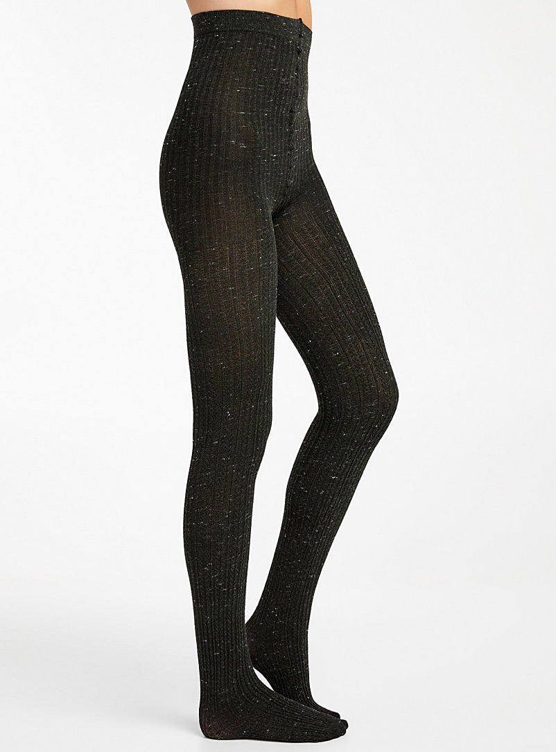 Lemon Black Rustic cable tights for women