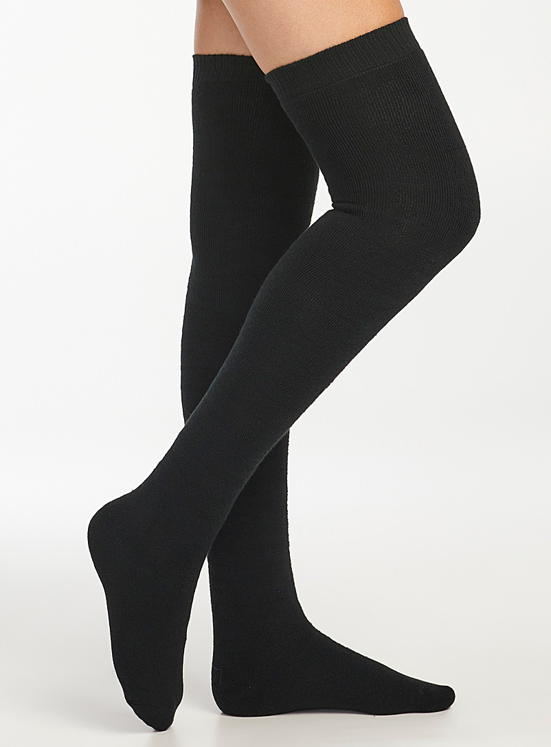 Lemon Black Solid knee-highs for women