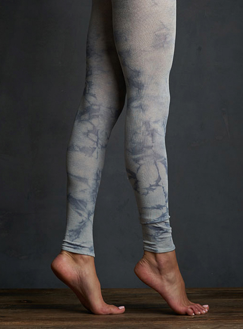 Lemon Assorted blue  Tie-dye marbled legging for women