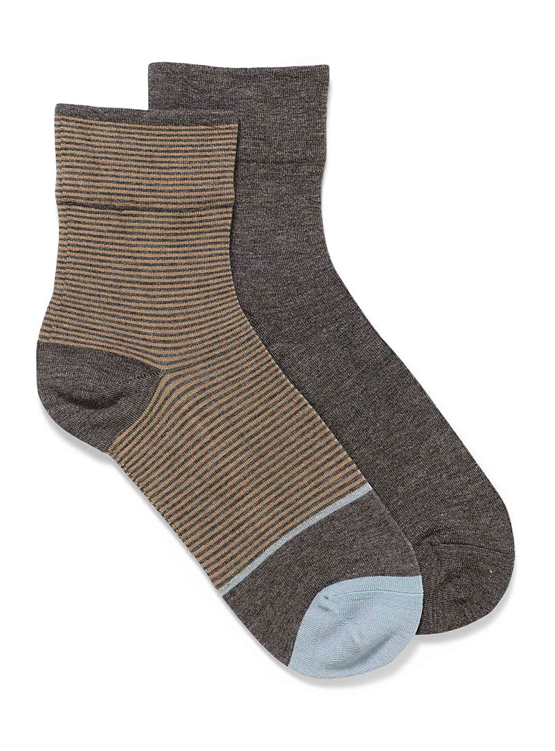 Lemon Charcoal Solid and mini-stripe socks Set of 2 for women