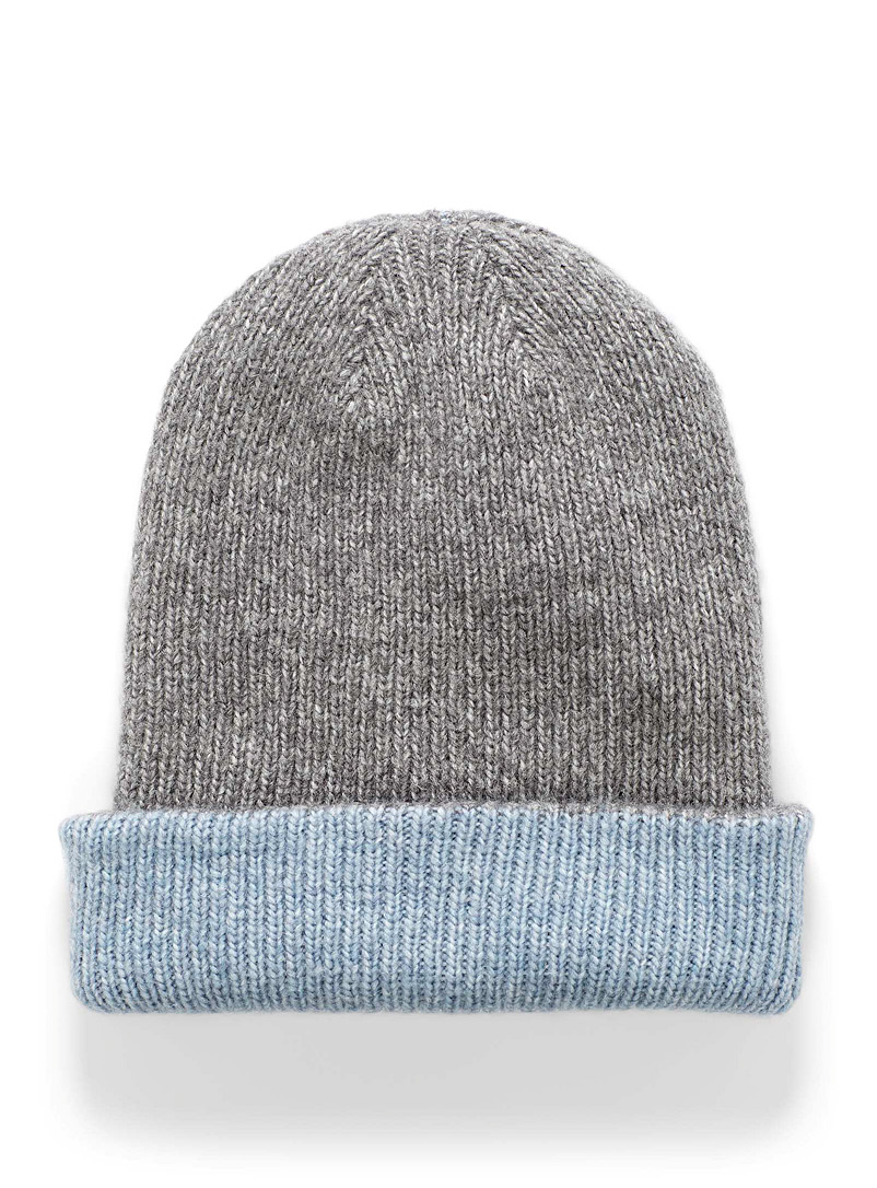 Lemon Grey Wide cuff reversible ribbed tuque for women