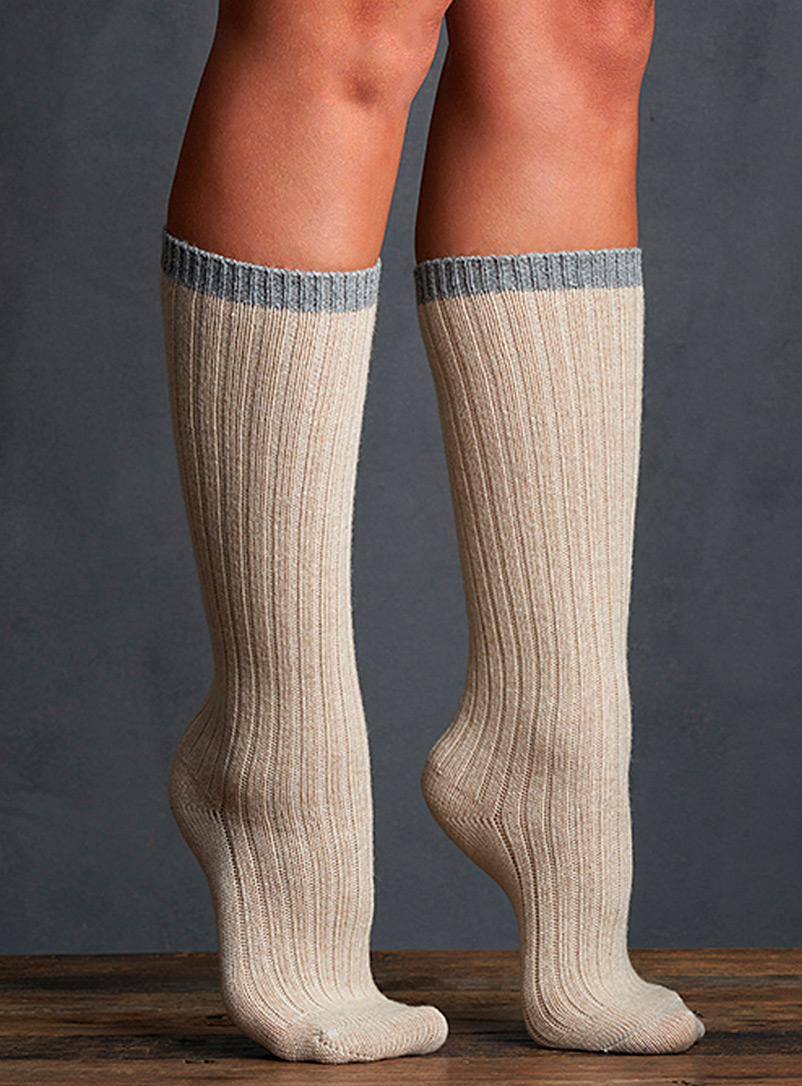 Lemon Grey/Sand Bora ribbed knee-highs  Set of 2 for women