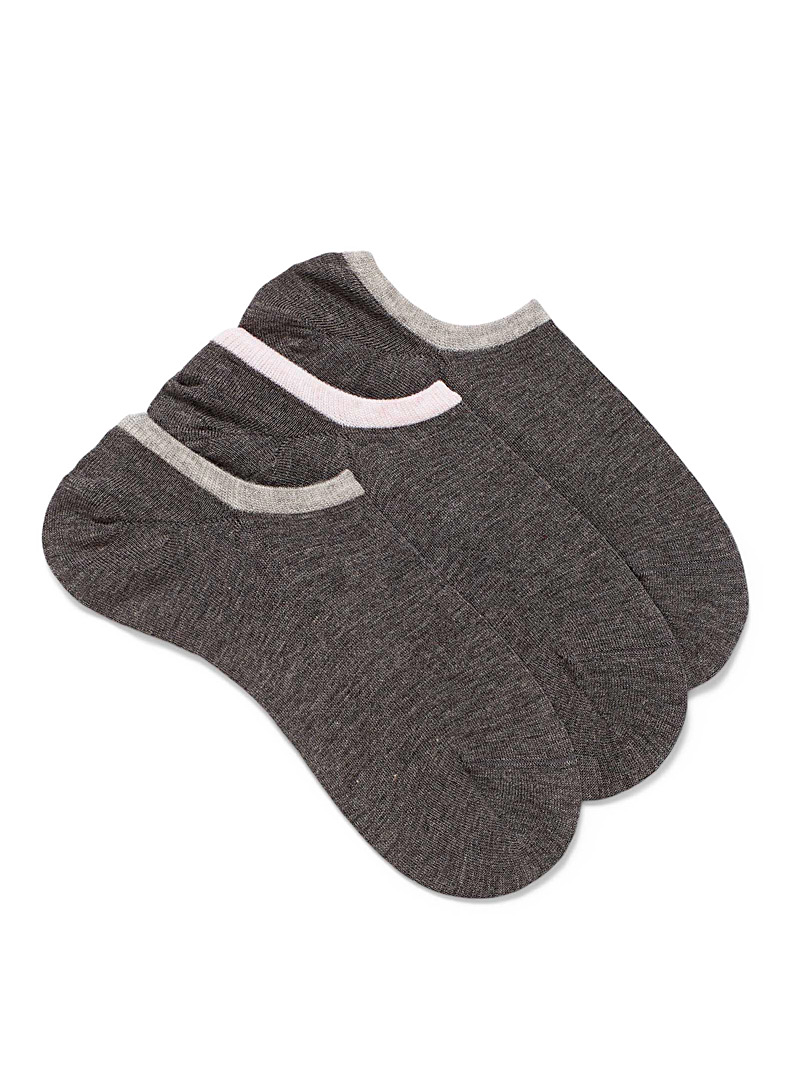 Lemon Charcoal Grey ped socks Set of 3 for women