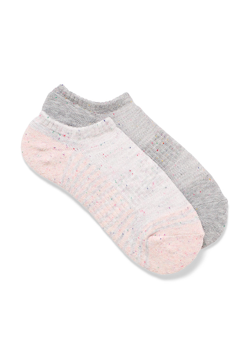 Lemon Sand Terry-lined confetti ped socks Set of 2 for women