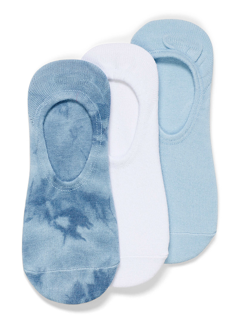 Lemon Blue Tie-dye and solid foot liners Set of 3 for women