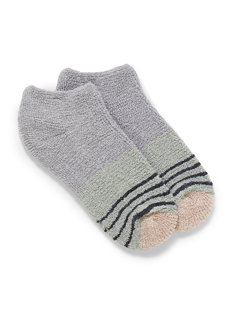 Lemon Grey Terry knit ankle socks for women
