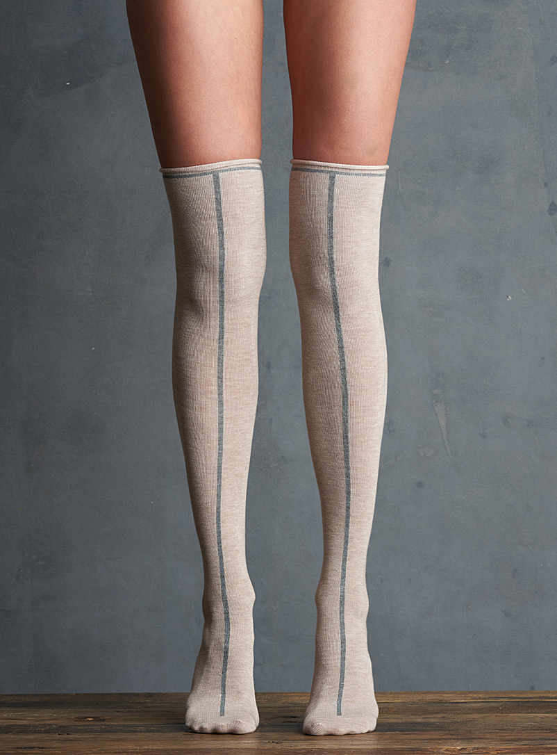 Lemon Cream  Vertical line thigh-highs for women