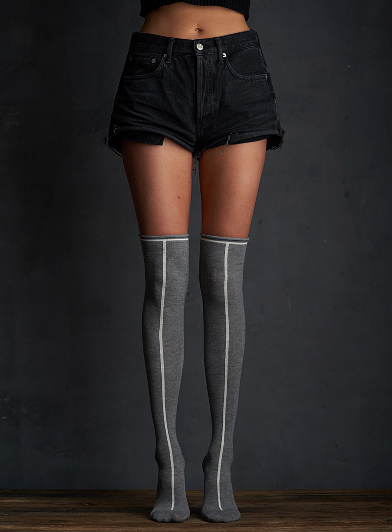 Lemon Charcoal Vertical line thigh-highs for women