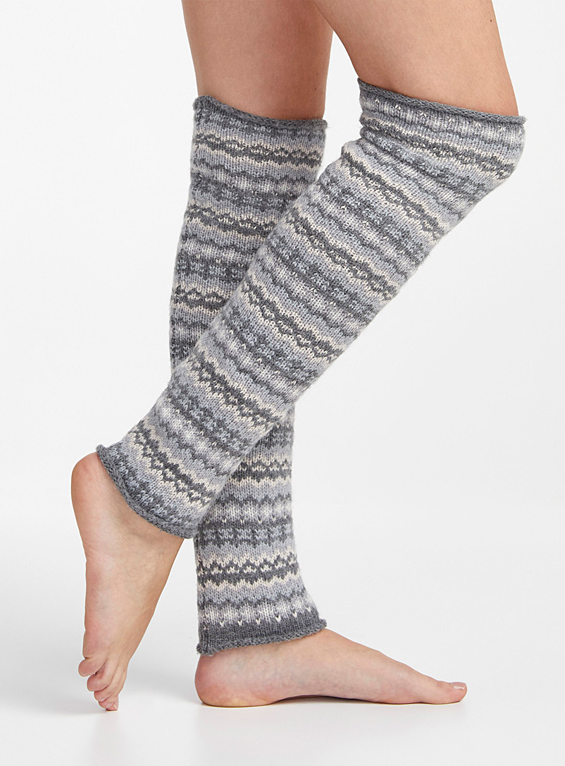 Lemon Assorted grey Jacquard knit legwarmers for women