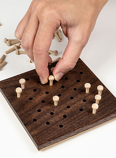 Atelier-D Brown Wooden solitaire game