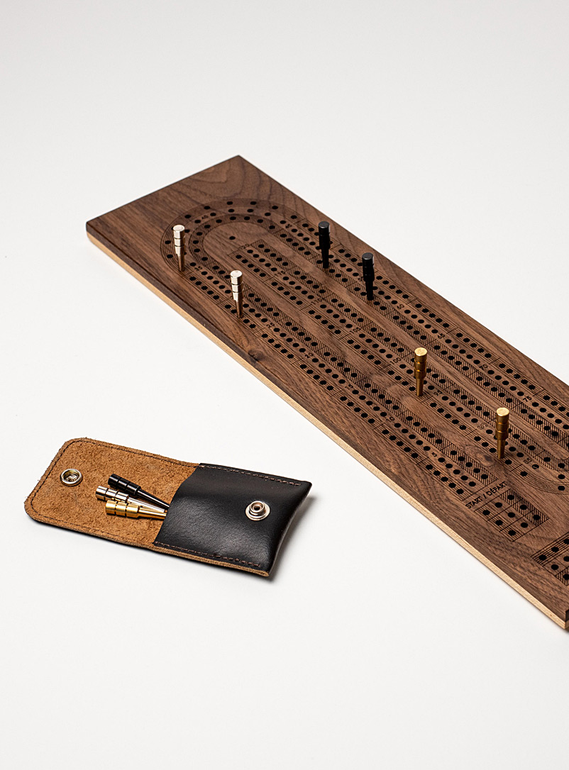 Atelier-D Brown Wooden cribbage game