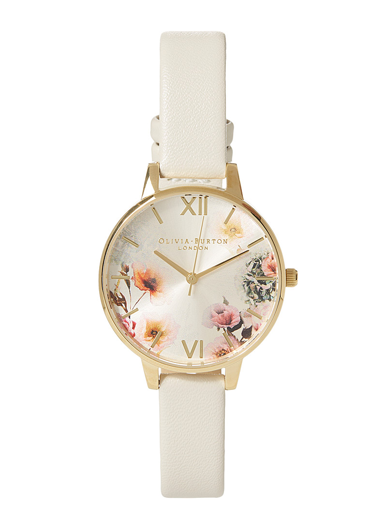 Faux-leather floral watch