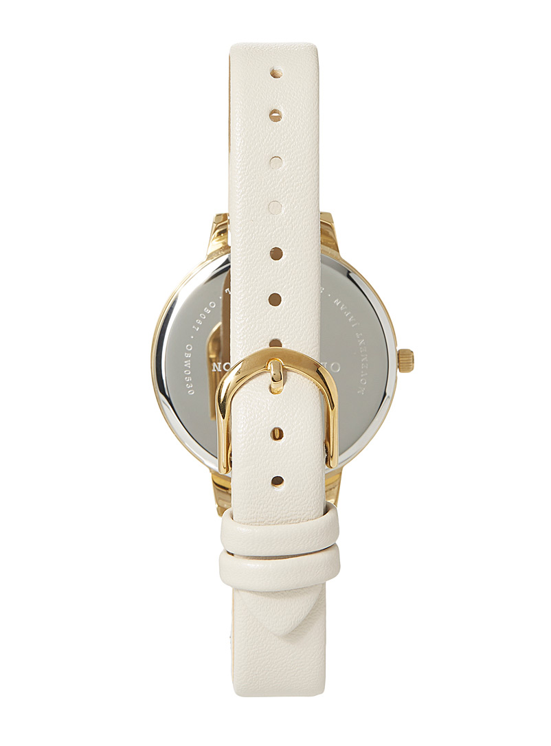 Olivia Burton Ivory White Faux-leather floral watch for women
