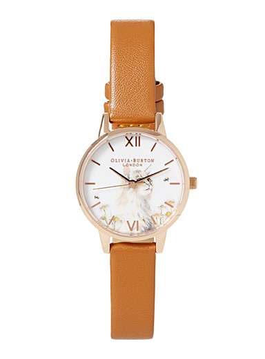 Olivia Burton Fawn Natural cat watch for women