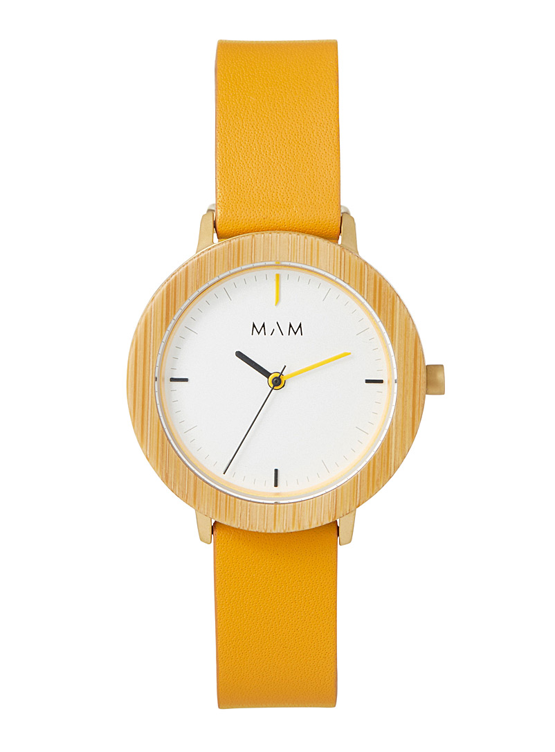 Mam Patterned Yellow Ferra 694 watch for women