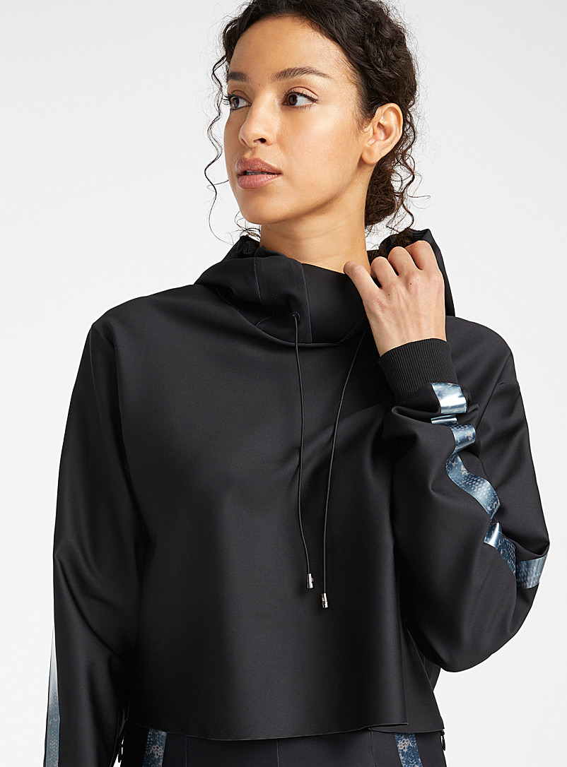 Ultracor Black Wraparound collar cropped sweatshirt for error
