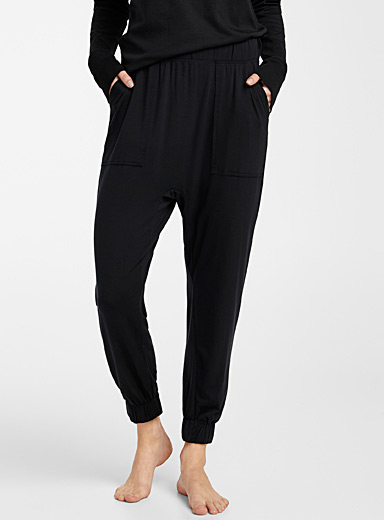 Lunya Black Gathered ankle black joggers for women