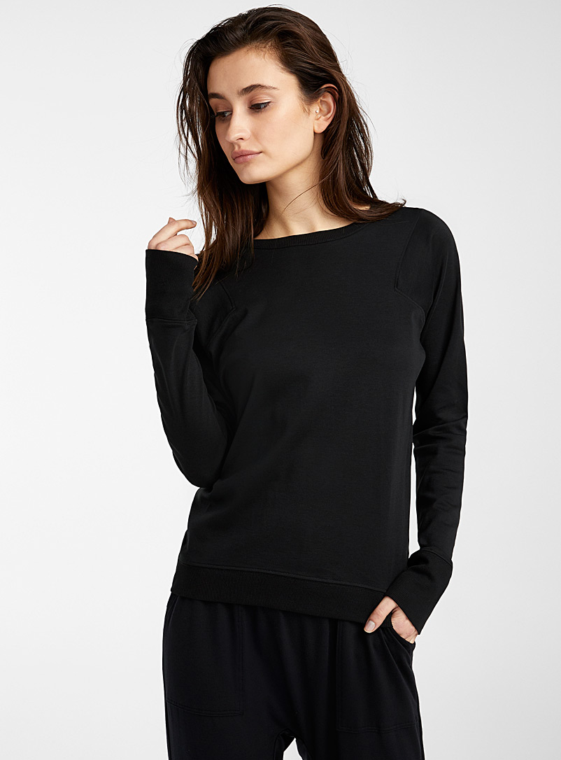 Lunya Black Organic Pima cotton long-sleeve tee for women