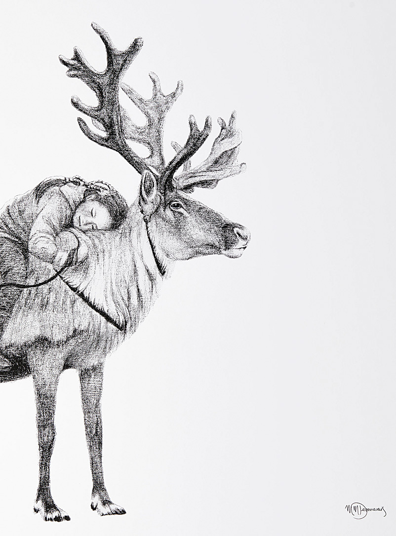 Le NID atelier Black and White Young Tsaatan and her reindeer illustration 2 sizes available