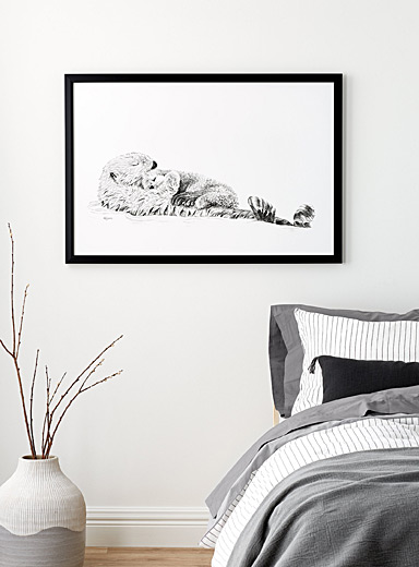 LE NID atelier Black and White Adorable Sea Otter swimming with her Cub illustration  2 sizes available