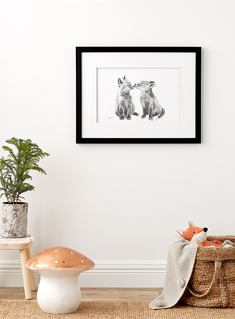Le NID atelier Black and White Cute Baby Foxes illustration 2 sizes available