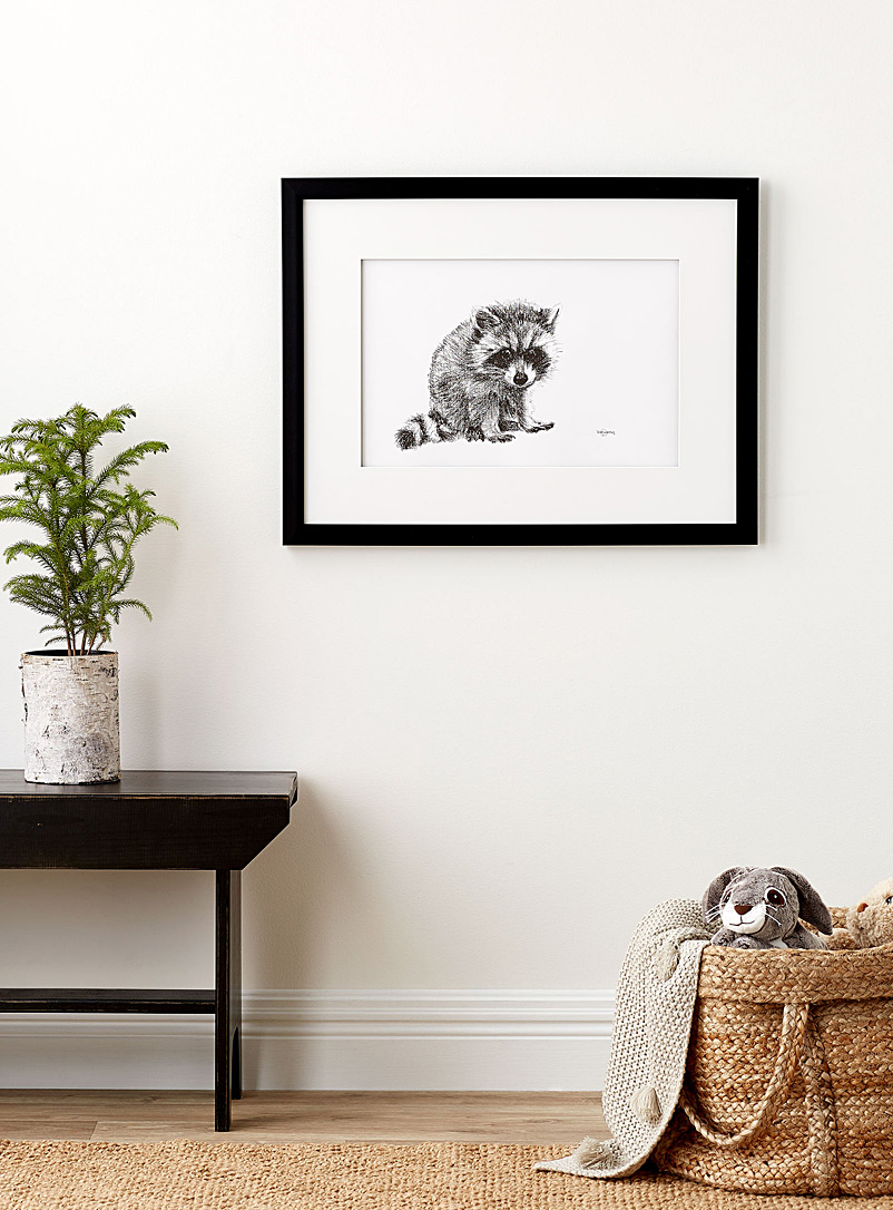Le NID atelier Black and White Cute Baby Raccoon illustration  2 sizes available