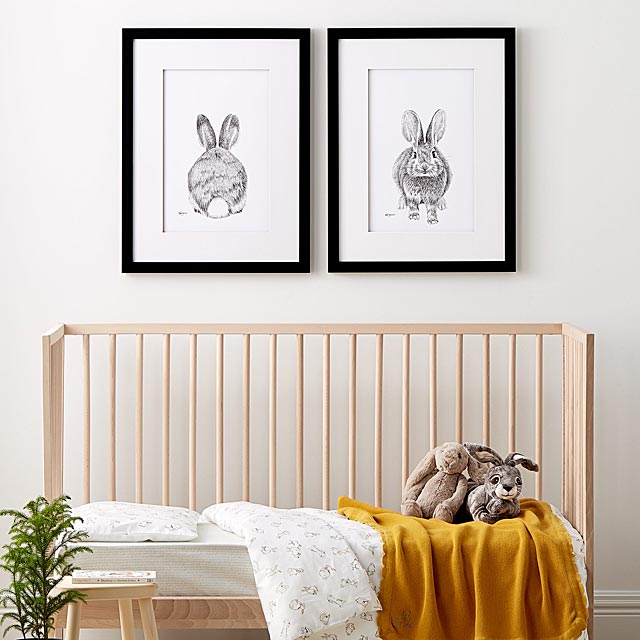 set-of-two-adorable-rabbits-illustrations-2-sizes-available