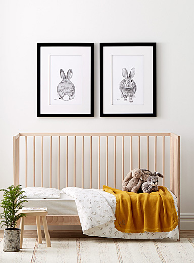 LE NID atelier Black and White Set of two Adorable Rabbits illustrations  2 sizes available