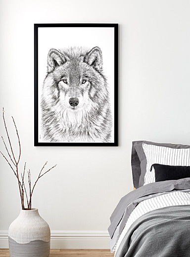 LE NID atelier Black and White The Wolf illustration  2 sizes available