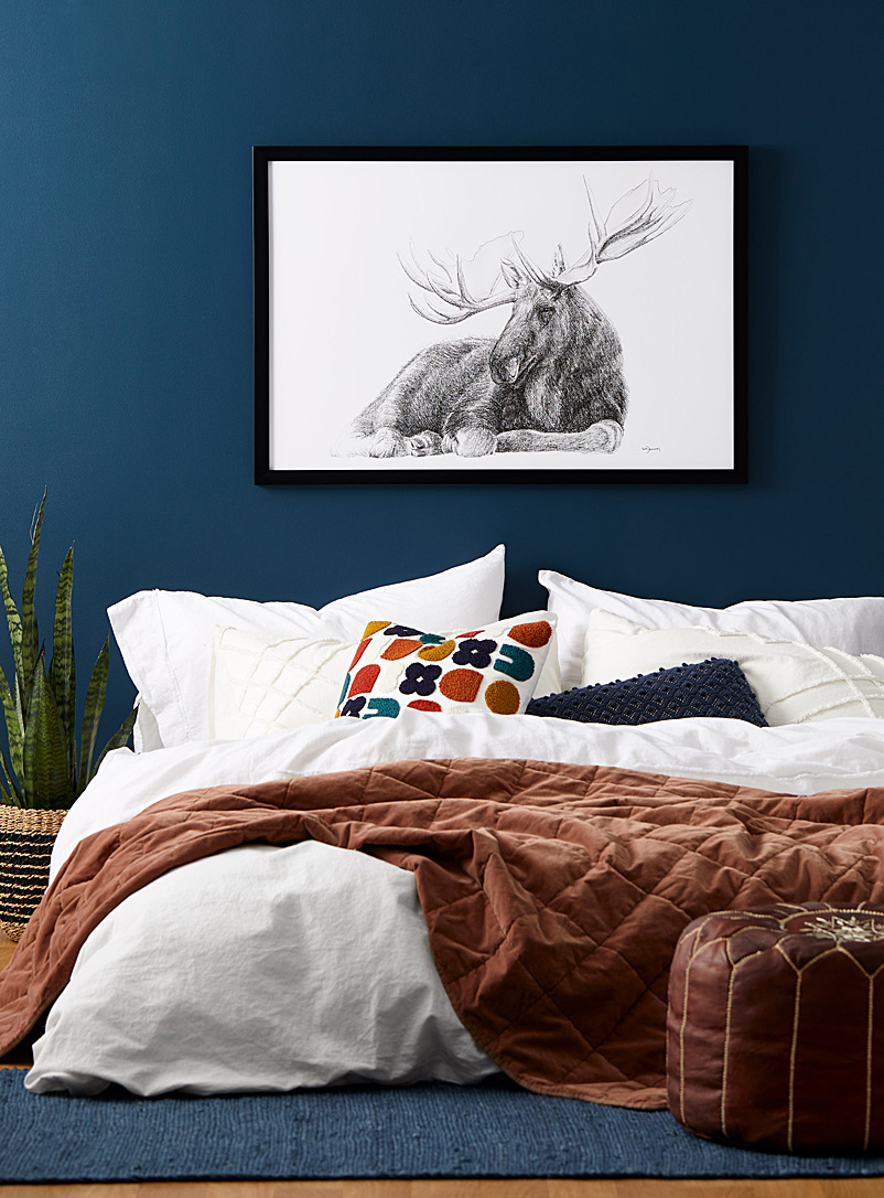 Le NID atelier Black and White Lying Down Moose art print  2 sizes available