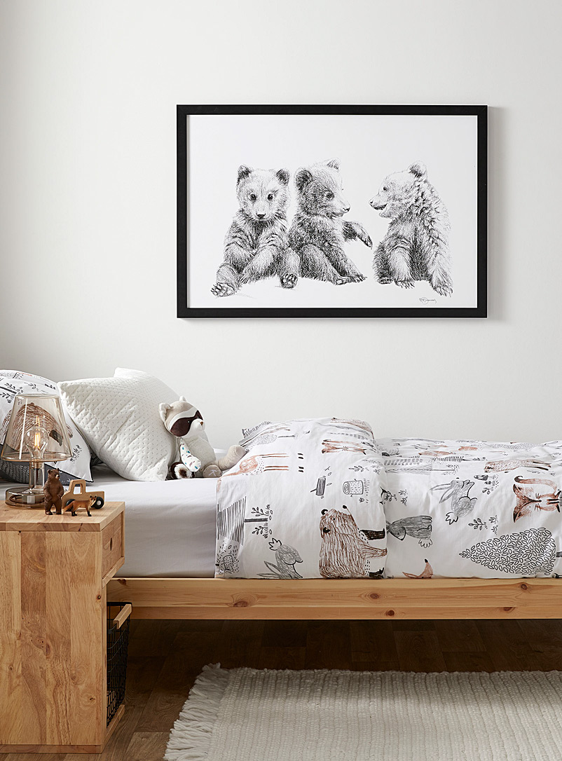Le NID atelier Black and White Playful bear cubs illustration 2 sizes available