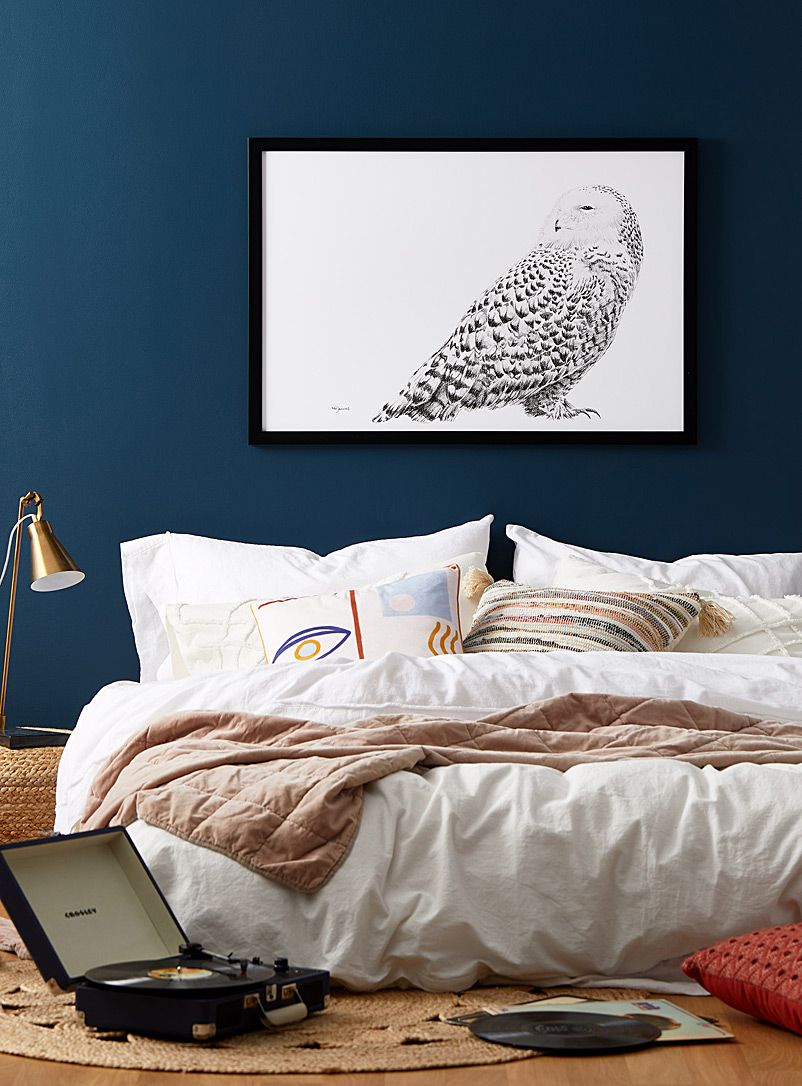 Le NID atelier Black and White Snowy Owl art print 2 sizes available