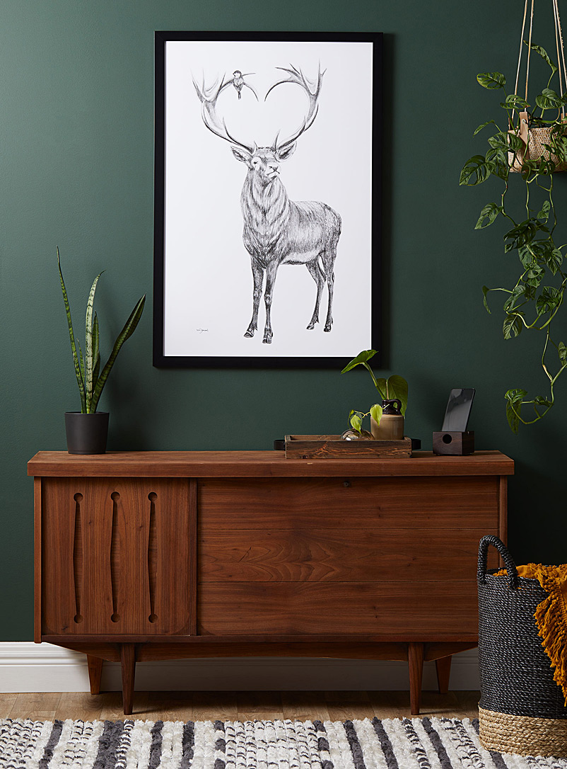Deer in the Woods heart-shaped art print  2 sizes available