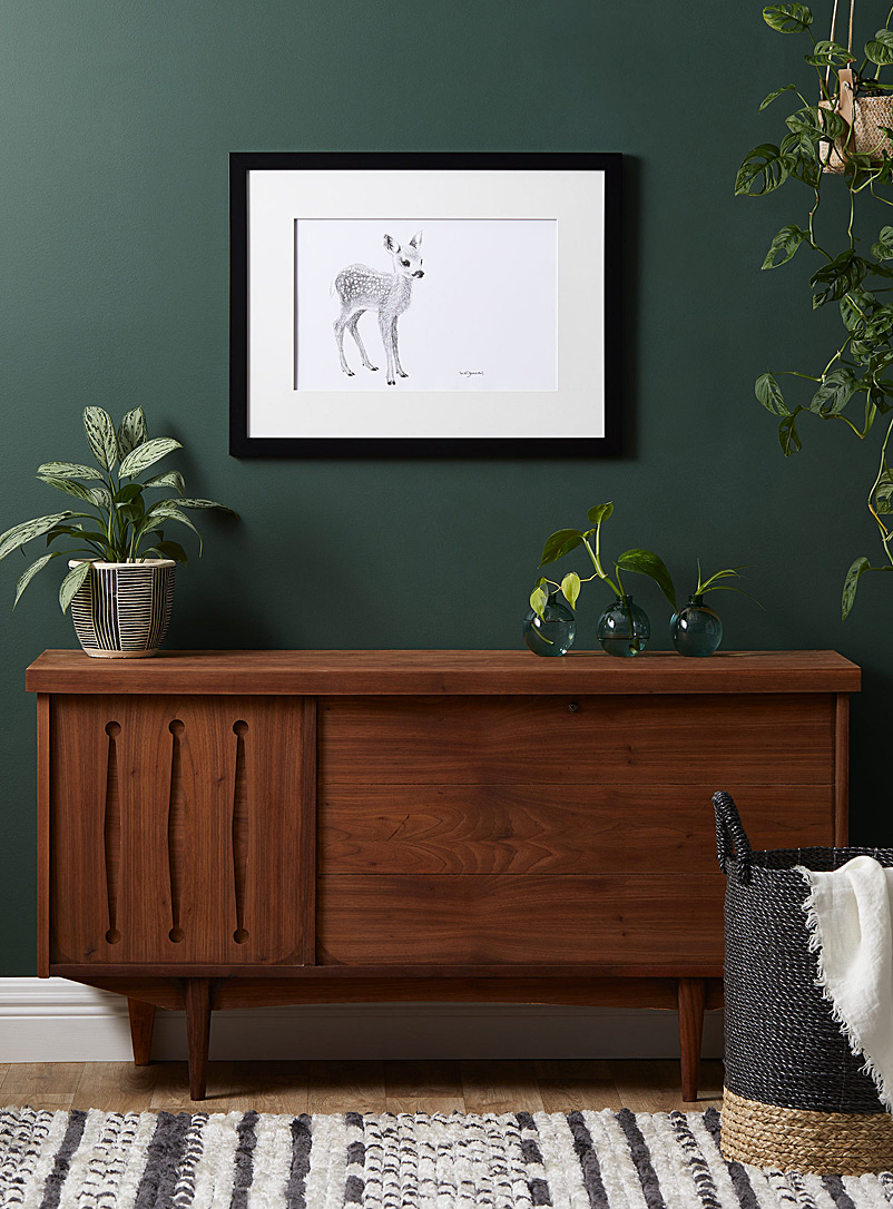 Le NID atelier Black and White Adorable Fawn illustration 2 sizes available