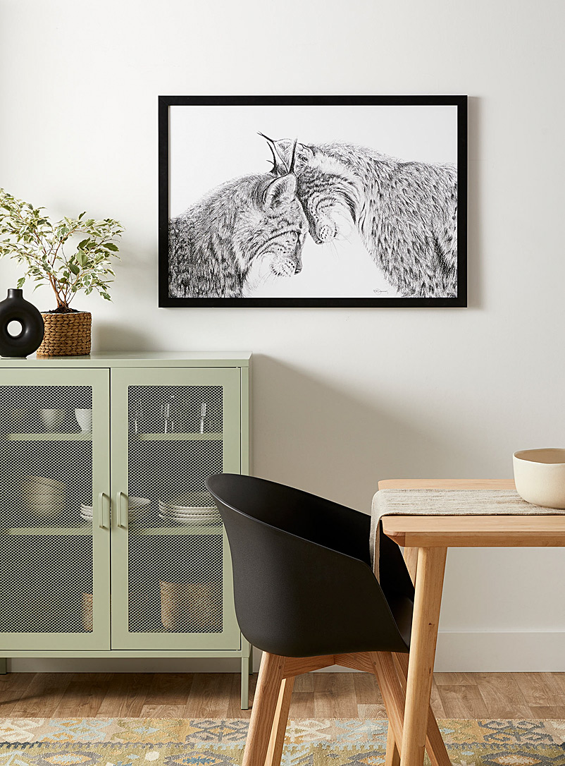 Le NID atelier Black and White Lynx in love illustration 2 sizes available