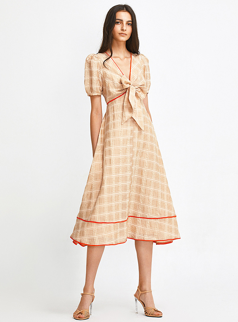Ic?ne Patterned Brown Bright trimmed woven check dress for women