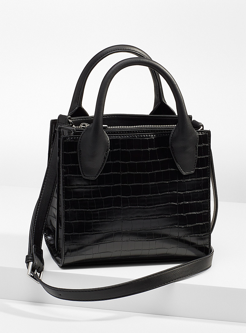 WhoWhatWear Black Small croc bag for women