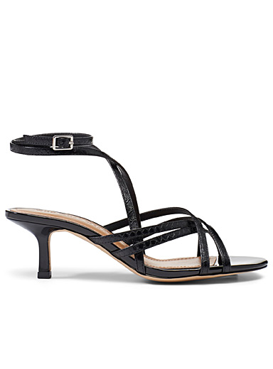 Who What Wear Black Pamela heeled sandals for women