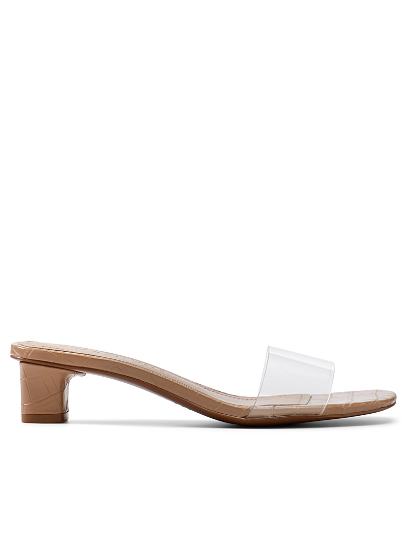 Who What Wear Tan Nicola clear sandals for women