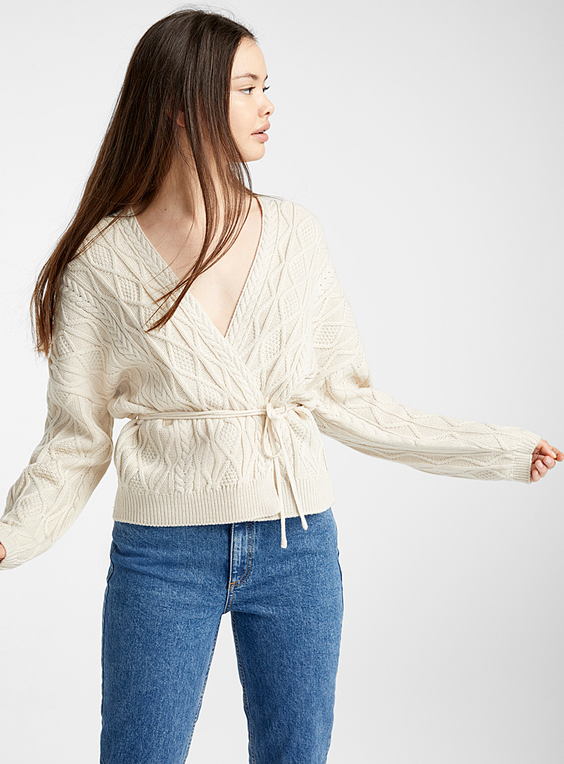 Laced-waist cable cardigan - Cardigans - Ivory White