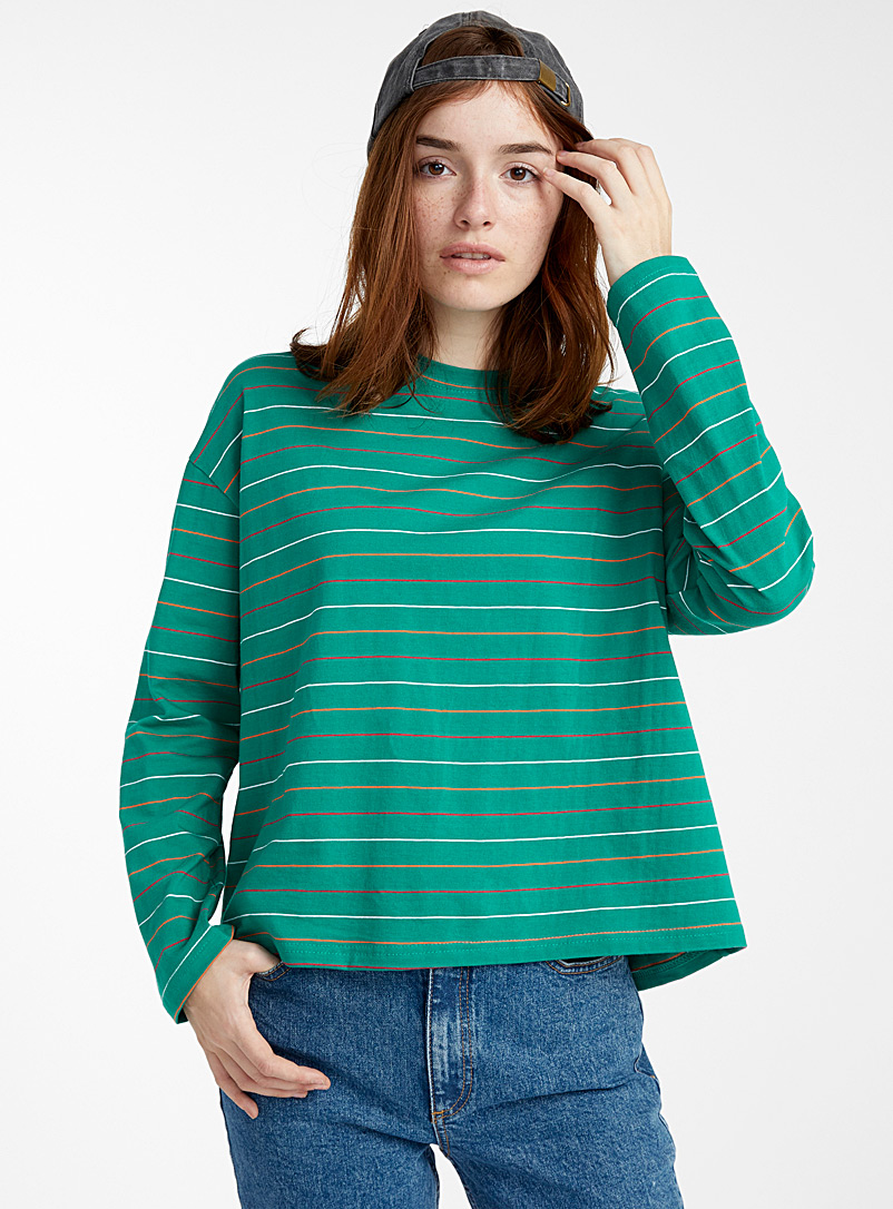 Striped boyfriend tee - Long Sleeves - Patterned Green